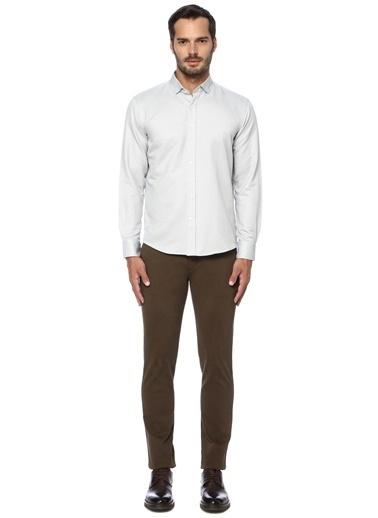 George Hogg George Hogg Italyan Yaka Uzun Kollu Slim Fit Jakarlı Erkek Gömlek Gri